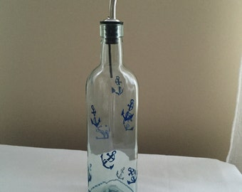 Olive Oil Dispenser, Hand Painted, Vinegar, Soap, Nautical, Anchors