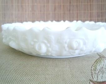 Vintage Fenton Milk Glass Bowl/ Rose Pattern Milk Glass/ Round Milk Glass Bowl/ Fenton Ashtray/Milk Glass Ashtray/Jewelry Dish/Trinket Dish
