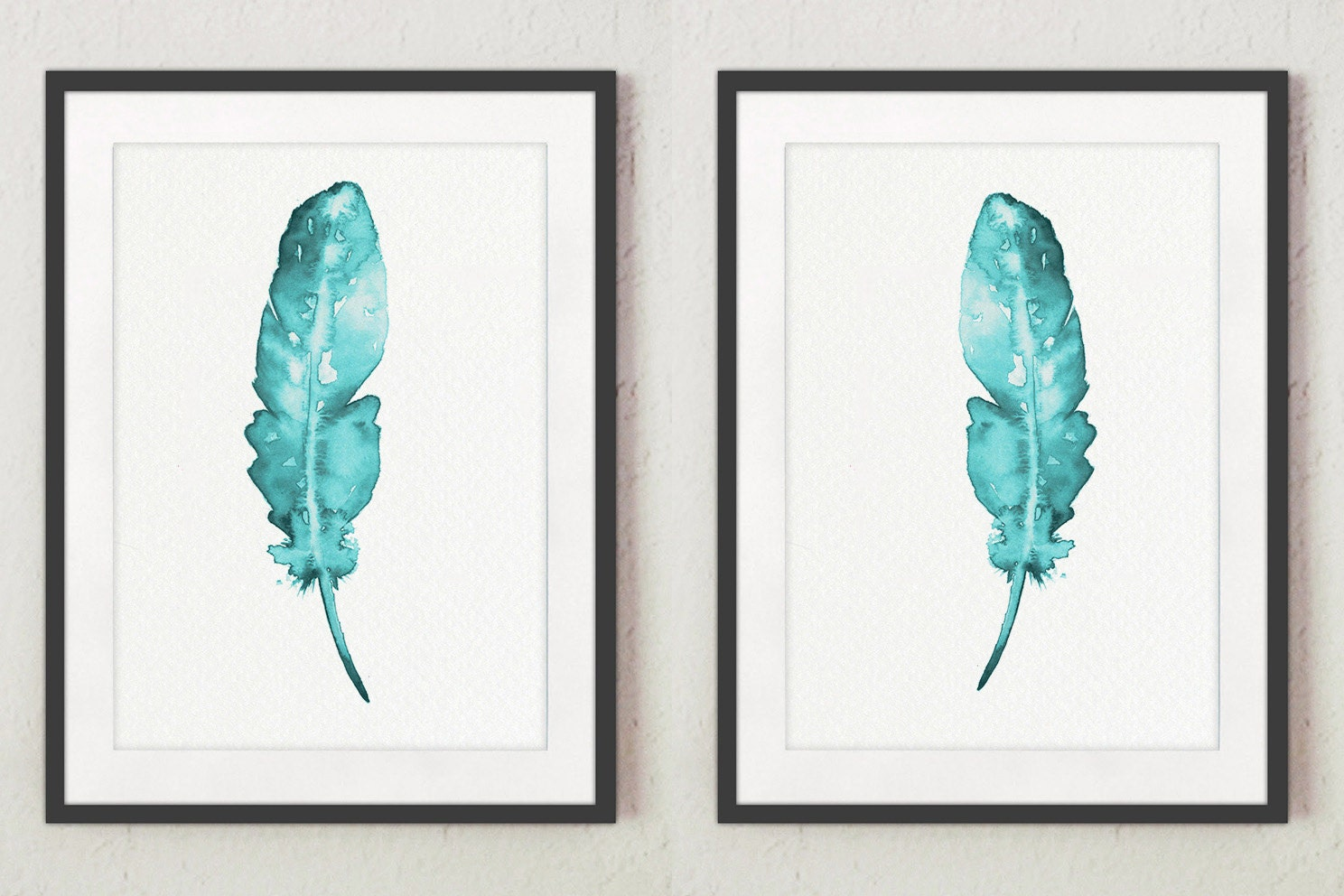 Set of 2 feathers wall decor teal art print two posters for Teal wall art