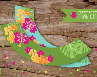 Luau Party Cupcake Wrappers Instant Download | Luau Party Cupcake Wrappers