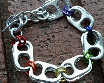 Equality #LoveWins Rainbow Pride Colors Recycled Soda Can Tab Bracelet with Toggle Clasp