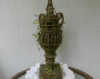 Vintage Urn Topiary Large Tall Artificial Green Moss Victorian Garden Topiary Home Decor Urn Shaped Design Display Wedding Bridal