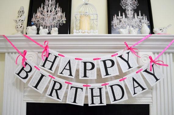 Happy Birthday banner pinksilver damask hot pink birthday