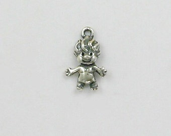 "Sterling Silver 13mm ""Troll"" Charm - ff32"