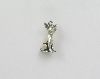 Sterling Silver 3D Chihuahua Charm - dc05