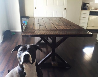 reclaimed barn wood kitchen dining table