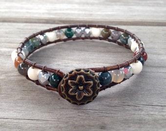 Jasper/Silver/Wood Beaded Leather Wrap Bracelet