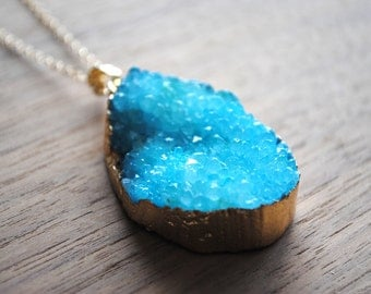 """Long Druzy Necklace, Aqua Blue Druse Crystal with 18 karat Gold Edge on 30"""" 14k Delicate Gold Filled Chain, Druzy Necklace"""