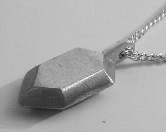 Zelda 3D Rupee Pewter & Silver Necklace Pendant