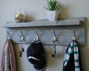 Nautical Coat Rack with Floating Shelf