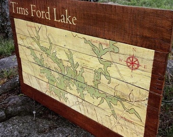 Tims Ford Lake Map - Hand Painted on Reclaimed Wood