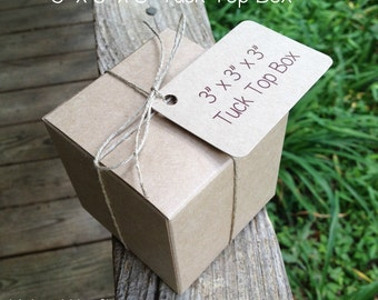 "BULK  • 100 Each  ~ 3"" x 3"" x 3""  Natural Kraft  Tuck Top • Bakery Boxes • Gift Box  -  Cookies • Pastries - Boxes Only"