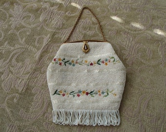 Vintage Beaded Floral Embroidered Mother of Pearl Handle Evening or Bridal Purse