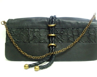 Black Ruched Leather Shoulder Bag / Designer Black Braided Leather Clutch / Black Leather Purse w/ Brass Hardware / Woven Leather Bag