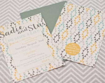 Gold, Slate and Mint/Seafoam Baby Shower Invitation