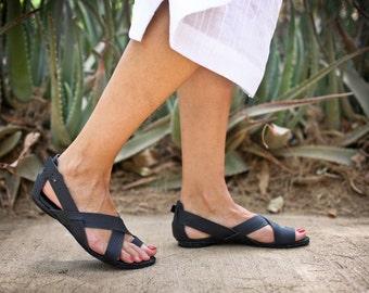 50% Sale, Leather Sandals, Black Summer Shoes, Handmade Sandals, Summer Flats, Greek Sandals, Strappy Sandals, Black Sandals, Faye