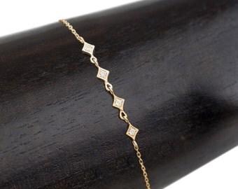 14k gold tiny star multi diamond chain bracelet, dainty diamond bracelet, milgrain setting, antique inspired layered bracelet, sta-b102