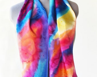 Multicolor silk scarf, hand painted natural shawl.