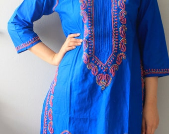Blue  Embroidered Cotton Midi Shirt Dress/ Blue Blouse/Handmade Top/Colorful Embroidery