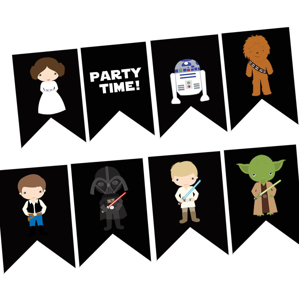 instant download star wars happy birthday banner digital