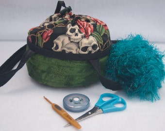 Green Skulls Small Project Bag/Knit Yarn Crochet/Basket/Purse