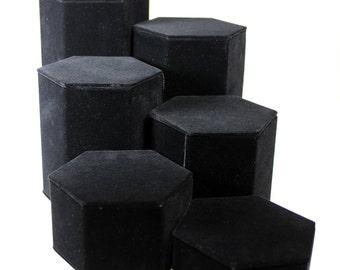 """Black Velvet Riser Set of 6 from 1-1/4"""" to 6-1/4"""" high  (DIS1513)"""