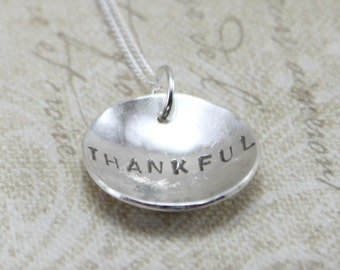 Sterling Silver Hand Stamped Necklace - Stamped Personalized Necklace - Hidden Message Pendant