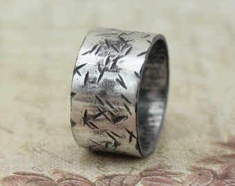 Sterling Silver Wide Band Ring - Wide Hammered Ring - Wide Men's Ring - Wide Women's Ring
