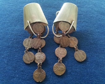 Vintage Sterling Linda Hesh Earrings, Buckets of Pennies