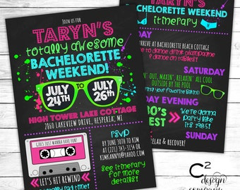 Totally Awesome Neon 80's Bachelorette Invitation with Itinerary