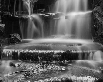 Lake Park Waterfall Long Exposure Black and White Milwaukee Fine Art Photo Print Home Wall Decor by Rose Clearfield on Etsy