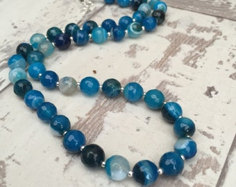 Blue Agate Necklace, Faceted Gemstone Necklace, Sterling Silver Necklace, bright necklace,