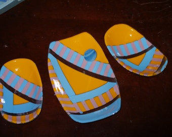 3 piece fused glass bowl  set