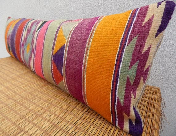Extra Long Decorative Lumbar Pillow : Items similar to 14 x 48 Extra Long Bed Bolster Pillow,Bedroom Decor Orange Mint Green Pink ...