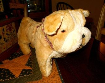Vintage PLUSH BULLDOG / Bulldog by Gund / 1950s stuffed bulldog