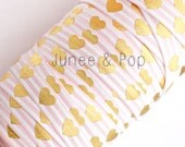 Metallic Gold Hearts on Light Pink - FOE - By The Metre