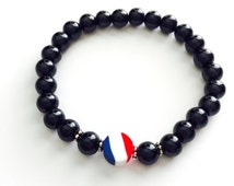 France Flag, Man Braceltet, Black Glass Pearl Beads 8mm, Elastic band