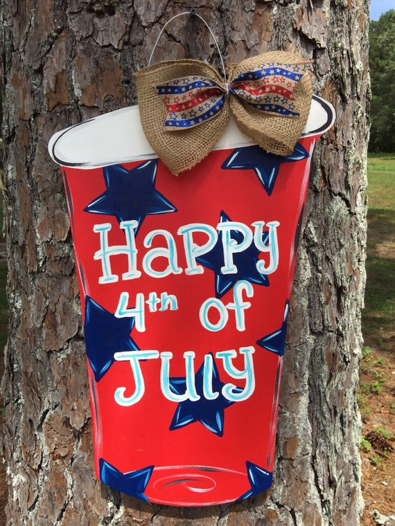 Items Similar To 4th Of July Solo Cup Door Hanger Summer Door Hanger Mason Jar Door Hanger