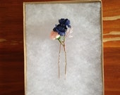 Blush and Cobalt Bloom + Crystal Hair Pin
