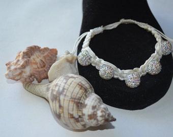 elegant white shamballa bracelet