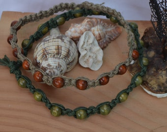 two necklaces choker in hemp and logs