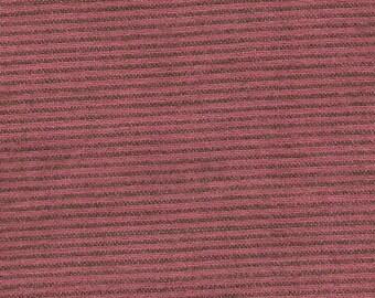 Dark Rose Thin Stripe Flannel Cotton Fabric / 1 yard