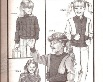 Girls Pullover and Jacket Sewing Pattern / Stretch & Sew 981 / Chest sizes 21-31