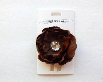 Brown Hair Flower, clip, accessories, 2 inch hair flower clip, girls hair flower, children, petite hair flower, toddler, girls, Easter