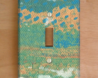 Playa Del Rey Vinyl Light Switch Cover. Outlet Cover, Waves, Teal and Blue, Abstract Painting, Paint Splatter, Home Decor, Beach, Stripes