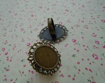 50pcs Adjustable Antique Bronze Ring Blanks 25mmx18mm