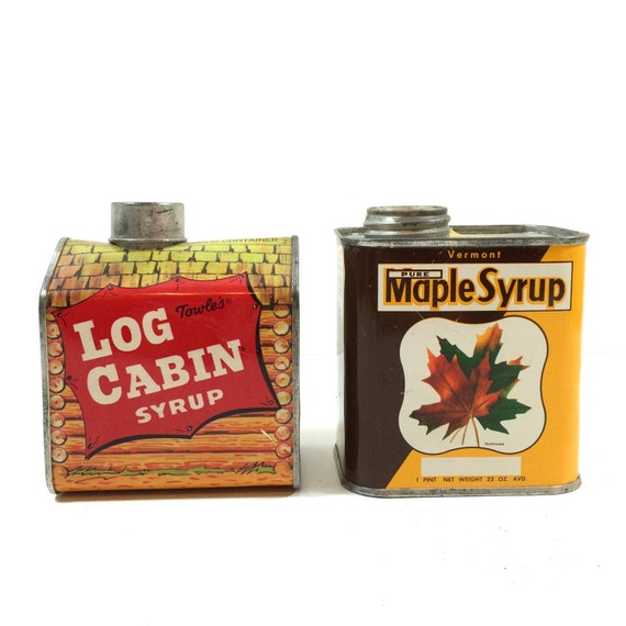 Vintage maple syrup tin log cabin bank or pure vermont
