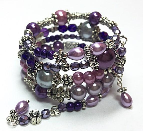 Memory Charm Bracelets: Purple Wrap Bracelet Beaded Memory Wire Bracelet Bohemian