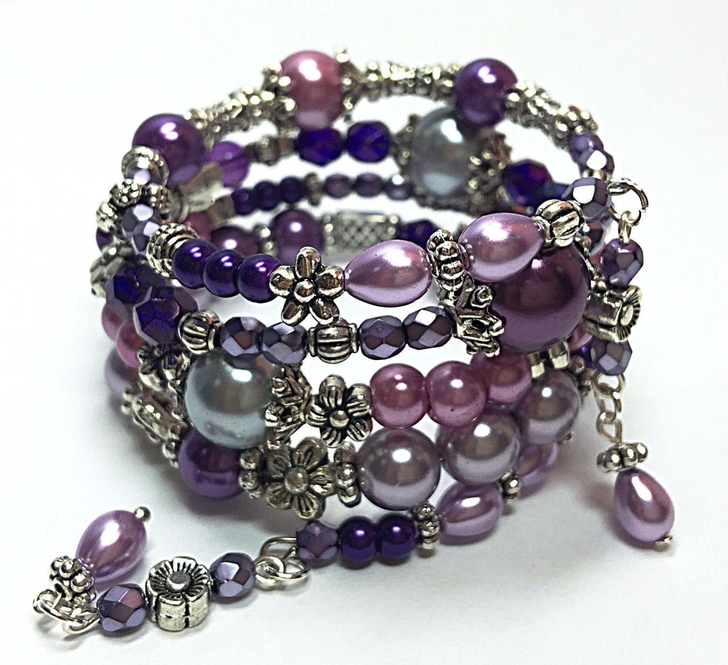 Bead Charms For Bracelets: Purple Wrap Bracelet Beaded Memory Wire Bracelet Bohemian