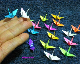 "100pcs Assorted Colors 1.5"" Origami Cranes Hand-folded From 1.5""x1.5"" Square Paper. (AV paper series). #FC15-34."